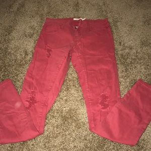Denim - Ripped red jeans